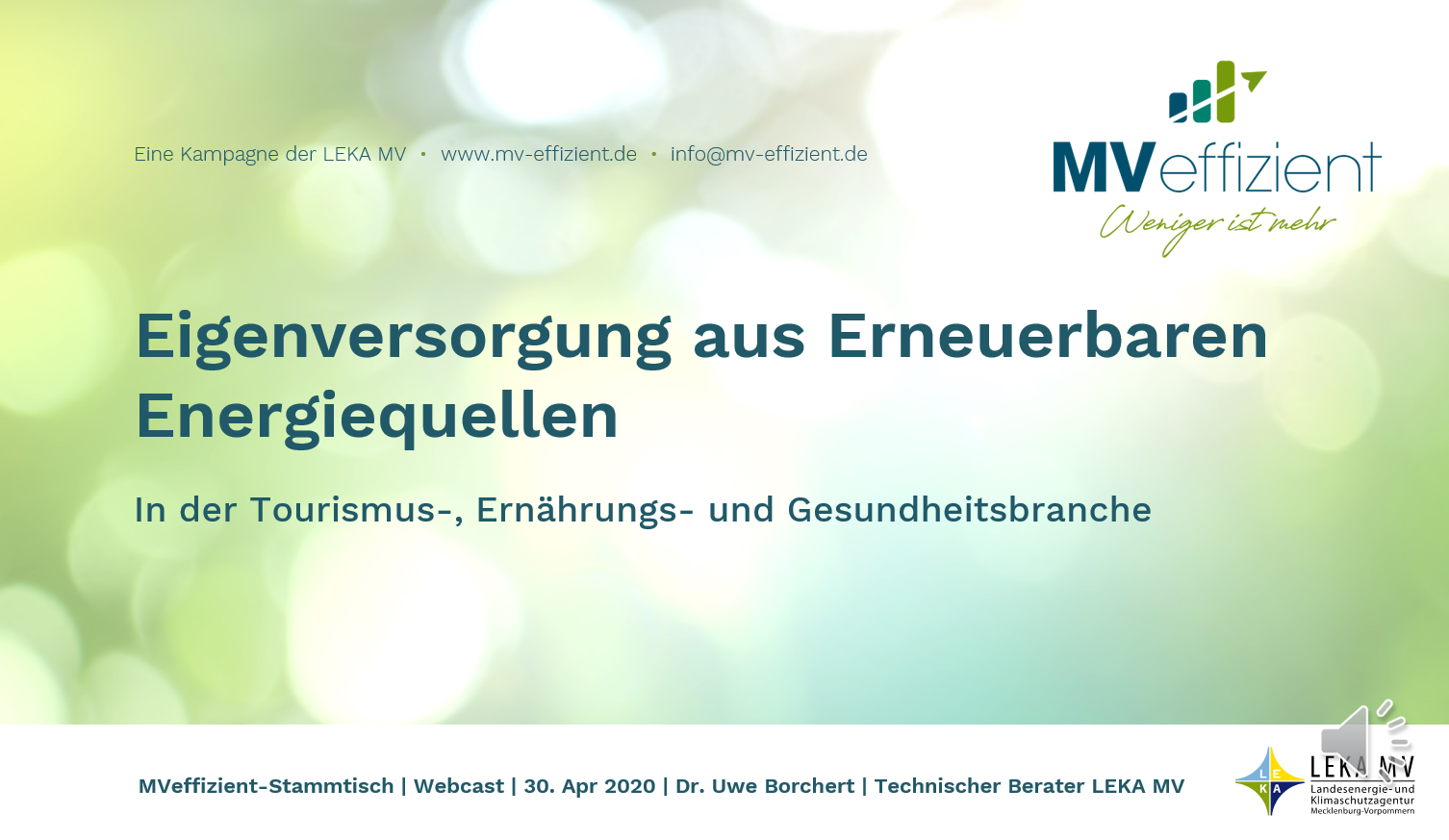 MVeffizient-Webcast Tapetenwechsel – Heute: Erneuerbare Energien