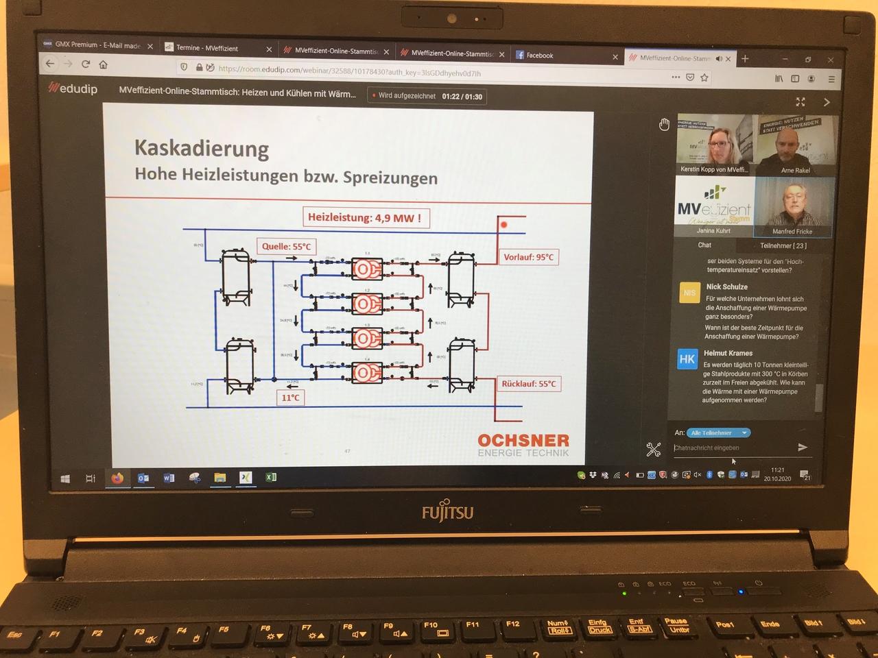 BU: Per Bildschirm erhalten die Unternehmer auf dem Online-Stammtisch die Informationen. (Foto: LEKA MV)