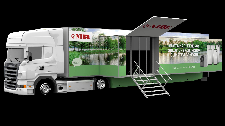 BU: Der Show-Truck des Wärmepumpenherstellers NIBE ist mit der neuesten Wärmepumpen-Technik bestückt (Foto: NIBE Systemtechnik GmbH).